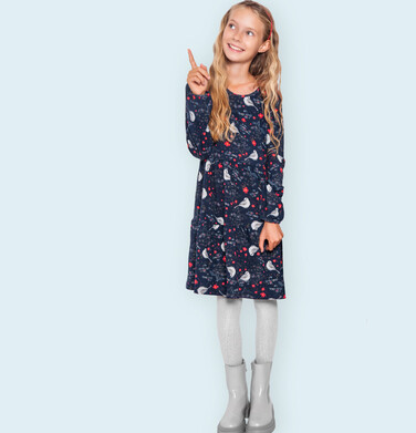 Sukienka z długim rękawem, z falbanką i deseniem, 9-13 lat D04H055_1