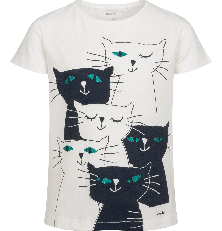Endo - T-shirt z krótkim rękawem dla dziewczynki, z kotami, biały,  9-13 lat D05G091_1