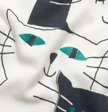 Endo - T-shirt z krótkim rękawem dla dziewczynki, z kotami, biały,  9-13 lat D05G091_1,2
