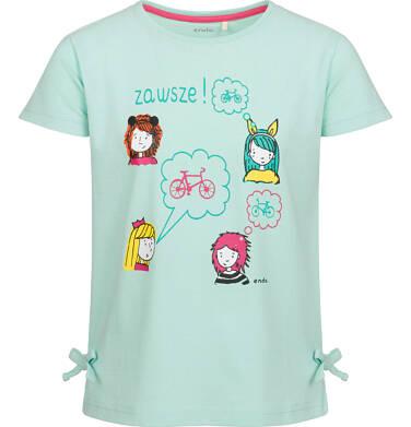 Endo - Bluzka z krótkim rękawem dla dziewczynki, z kolorowymi postaciami, miętowa, 9-13 lat D03G523_1 31