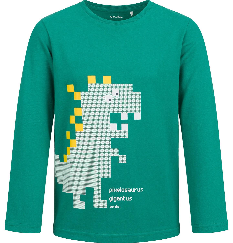 Endo - T-shirt z długim rękawem dla chłopca, z dinozaurem, zielony, 2-8 lat C04G053_1