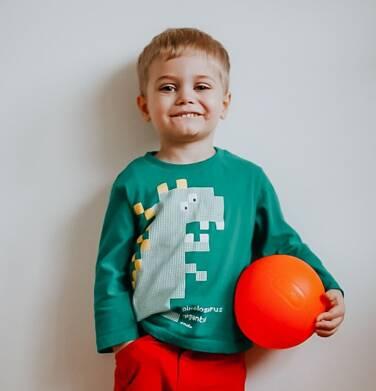 Endo - T-shirt z długim rękawem dla chłopca, z dinozaurem, zielony, 2-8 lat C04G053_1 51