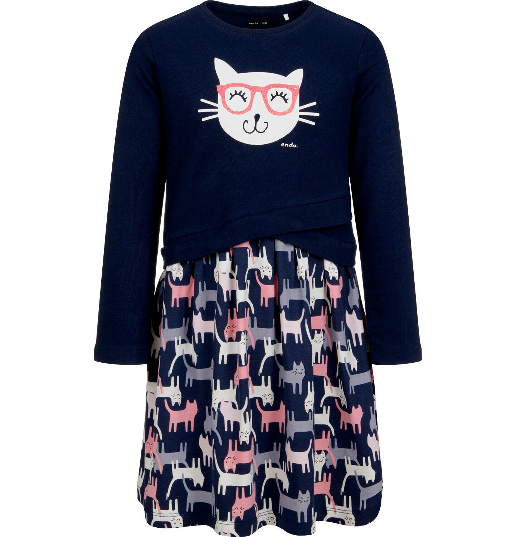 Endo - Sukienka z długim rękawem, deseń w koty, 2-8 lat D04H056_1
