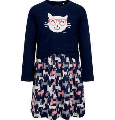Sukienka z długim rękawem, deseń w koty, 2-8 lat D04H056_1