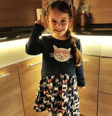 Endo - Sukienka z długim rękawem, deseń w koty, 2-8 lat D04H056_1 5