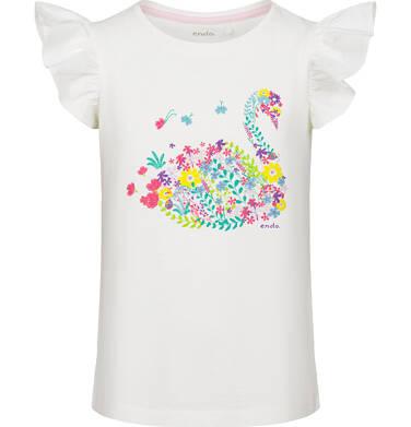 Endo - Bluzka z krótkim rękawem dla dziewczynki, z kwiecistym łabędziem, motylkowy rękaw, 9-13 lat D03G543_1 32