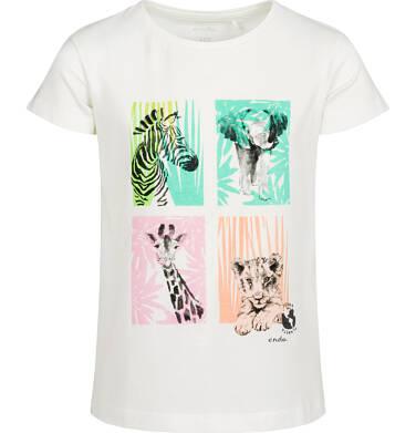Endo - T-shirt z krótkim rękawem dla dziewczynki, ze zwierzętami, biały, 2-8 lat D05G132_1 99
