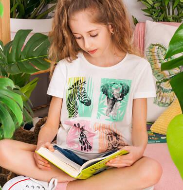 T-shirt z krótkim rękawem dla dziewczynki, ze zwierzętami, biały, 2-8 lat D05G132_1