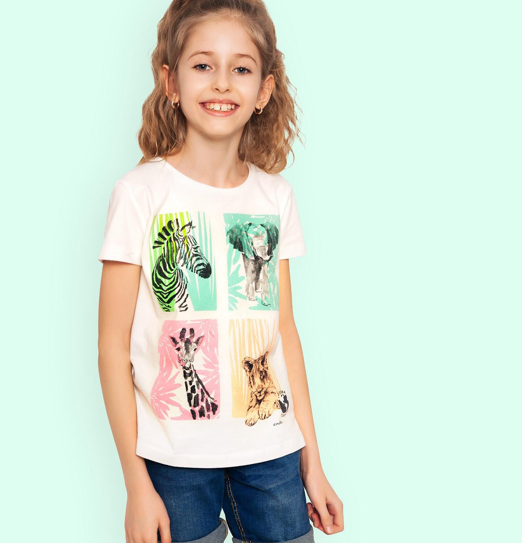 Endo - T-shirt z krótkim rękawem dla dziewczynki, ze zwierzętami, biały, 9-13 lat D05G133_1
