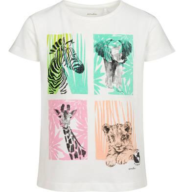 Endo - T-shirt z krótkim rękawem dla dziewczynki, ze zwierzętami, biały, 9-13 lat D05G133_1 95