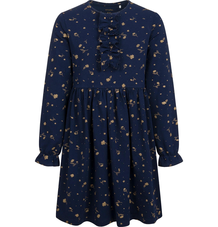 Endo - Sukienka z długim rękawem, deseń w kwiaty, granatowa, 9-13 lat D04H059_1