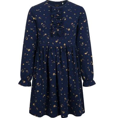 Endo - Sukienka z długim rękawem, deseń w kwiaty, granatowa, 9-13 lat D04H059_1,1