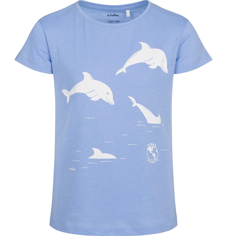 Endo - T-shirt z krótkim rękawem dla dziewczynki, z delfinami, niebieski, 9-13 lat D05G145_1