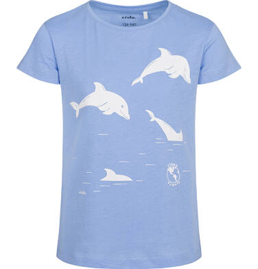 Endo - T-shirt z krótkim rękawem dla dziewczynki, z delfinami, niebieski, 9-13 lat D05G145_1 22