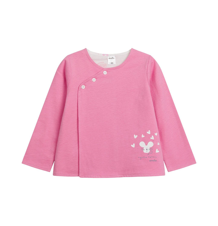 Endo - Rozpinana bluza dla dziecka do 2 lat, myszka mamusi, różowa N03C011_1