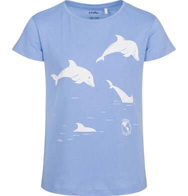 T-shirt z krótkim rękawem dla dziewczynki, z delfinami, niebieski, 2-8 lat D05G146_1