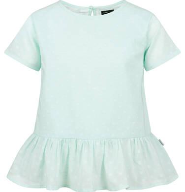 Endo - Bluzka koszulowa z krótkim rękawem dla dziewczynki, zielona w monochromatyczne grochy, 9-13 lat D03F501_2,1