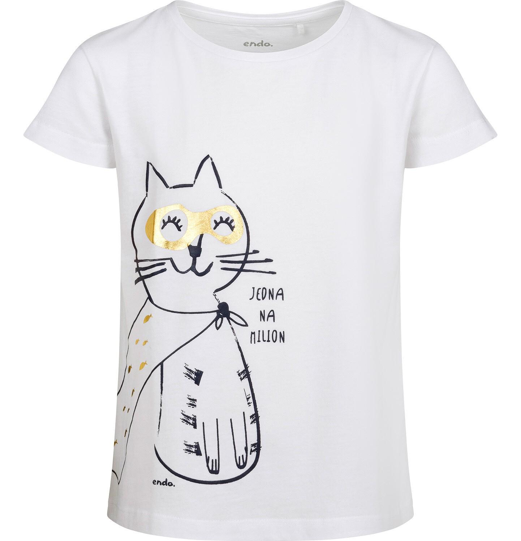 Endo - T-shirt z krótkim rękawem dla dziewczynki, z kotem, biały, 2-8 lat D05G147_2