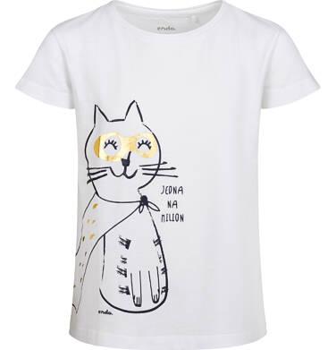 T-shirt z krótkim rękawem dla dziewczynki, z kotem, biały, 2-8 lat D05G147_2