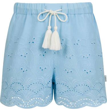 Krótkie spodenki dla dziewczynki, z deseniem, niebieskie, 2-8 lat D03K063_1