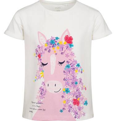 Endo - T-shirt z krótkim rękawem dla dziewczynki, z koniem, biały, 2-8 lat D05G156_1 2