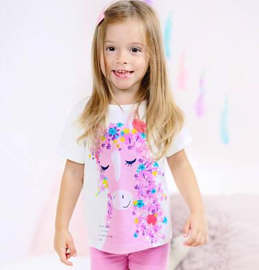 T-shirt z krótkim rękawem dla dziewczynki, z koniem, biały, 2-8 lat D05G156_1