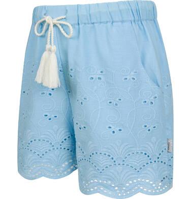 Endo - Krótkie spodenki dla dziewczynki, z deseniem, niebieskie, 9-13 lat D03K563_1,2