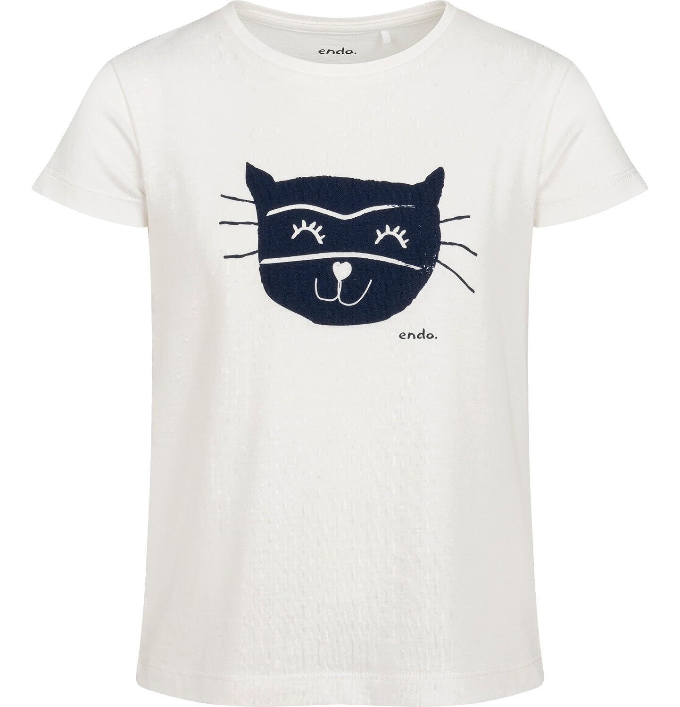 Endo - T-shirt z krótkim rękawem dla dziewczynki, z kotem, biały, 2-8 lat D05G162_1