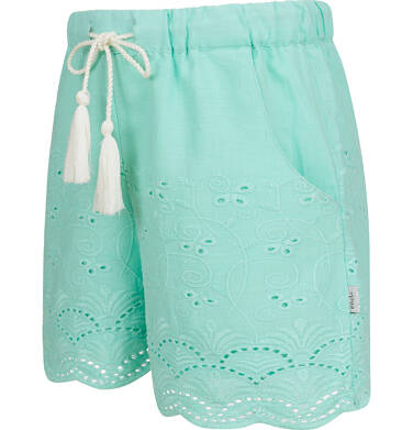 Endo - Krótkie spodenki dla dziewczynki, z deseniem, miętowe, 2-8 lat D03K063_2,3