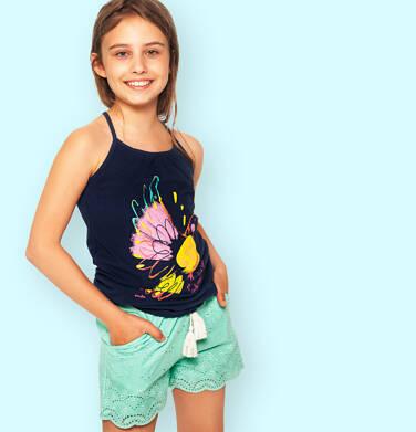 Endo - Krótkie spodenki dla dziewczynki, z deseniem, miętowe, 2-8 lat D03K063_2,2