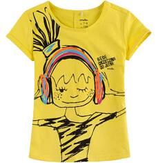 Bluzka z krótkim podwiniętym rękawem dla dziewczynki 9-13 lat D71G547_2