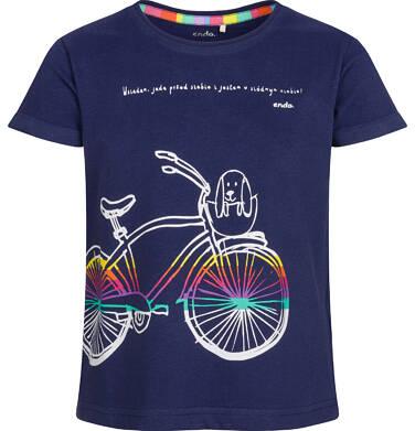Endo - Bluzka z krótkim rękawem dla dziewczynki, kolorowy rower, granatowa, 2-8 lat D03G024_1