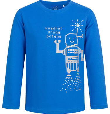 T-shirt z długim rękawem dla chłopca, z robotem, niebieski, 2-8 lat C04G054_1