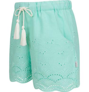 Endo - Krótkie spodenki dla dziewczynki, z deseniem, miętowe, 9-13 lat D03K563_2,2