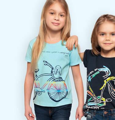 Endo - T-shirt z krótkim rękawem dla dziewczynki, z rowerem, niebieski, 2-8 lat D05G170_3 3
