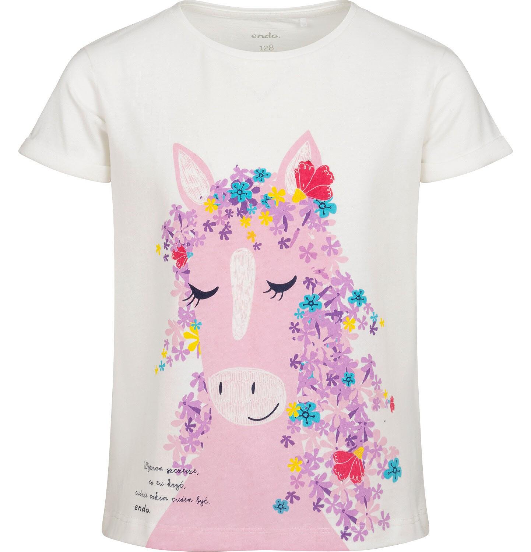 Endo - T-shirt z krótkim rękawem dla dziewczynki, z koniem, biały, 9-13 lat D05G175_1