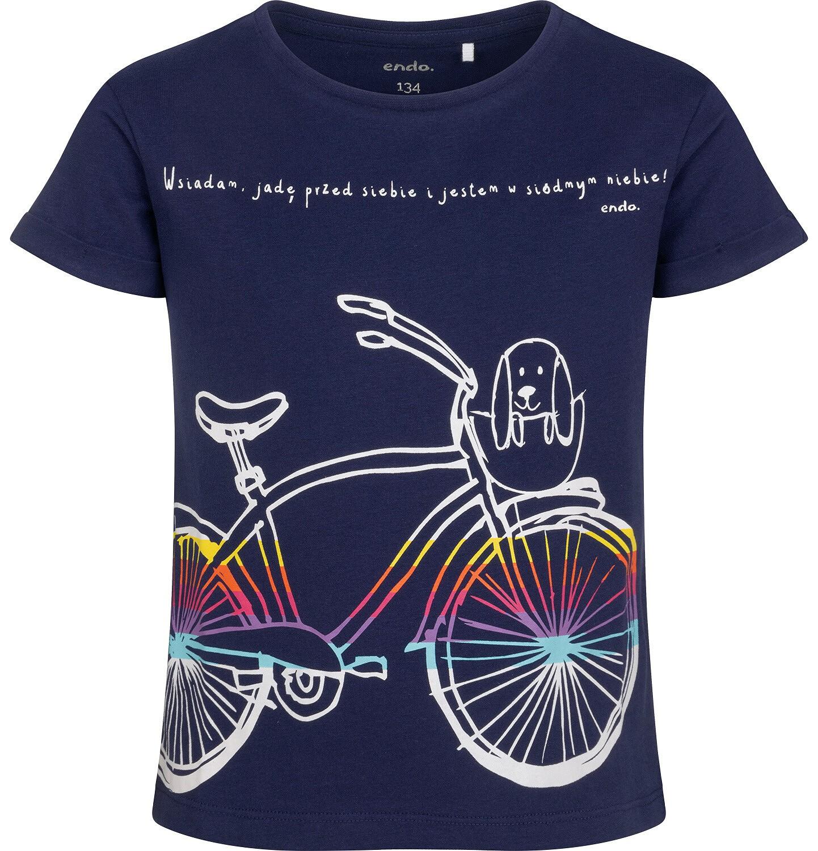 Endo - T-shirt z krótkim rękawem dla dziewczynki, z rowerem, granatowy, 9-13 lat D05G181_1