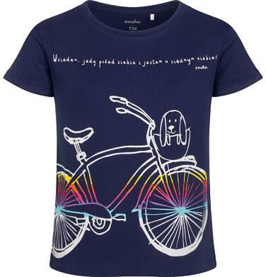 Endo - T-shirt z krótkim rękawem dla dziewczynki, z rowerem, granatowy, 9-13 lat D05G181_1 92