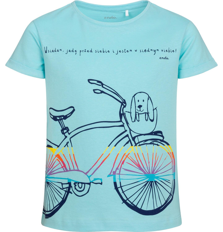 Endo - T-shirt z krótkim rękawem dla dziewczynki, z rowerem, niebieski, 9-13 lat D05G181_3