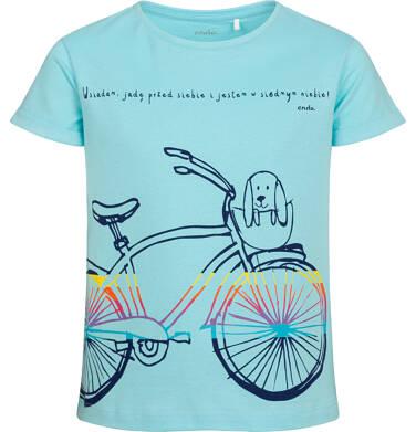 Endo - T-shirt z krótkim rękawem dla dziewczynki, z rowerem, niebieski, 9-13 lat D05G181_3 91