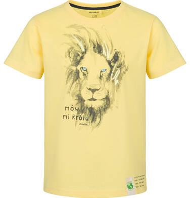 T-shirt z krótkim rękawem dla chłopca, z lwem, żółta, 9-13 lat C03G617_2