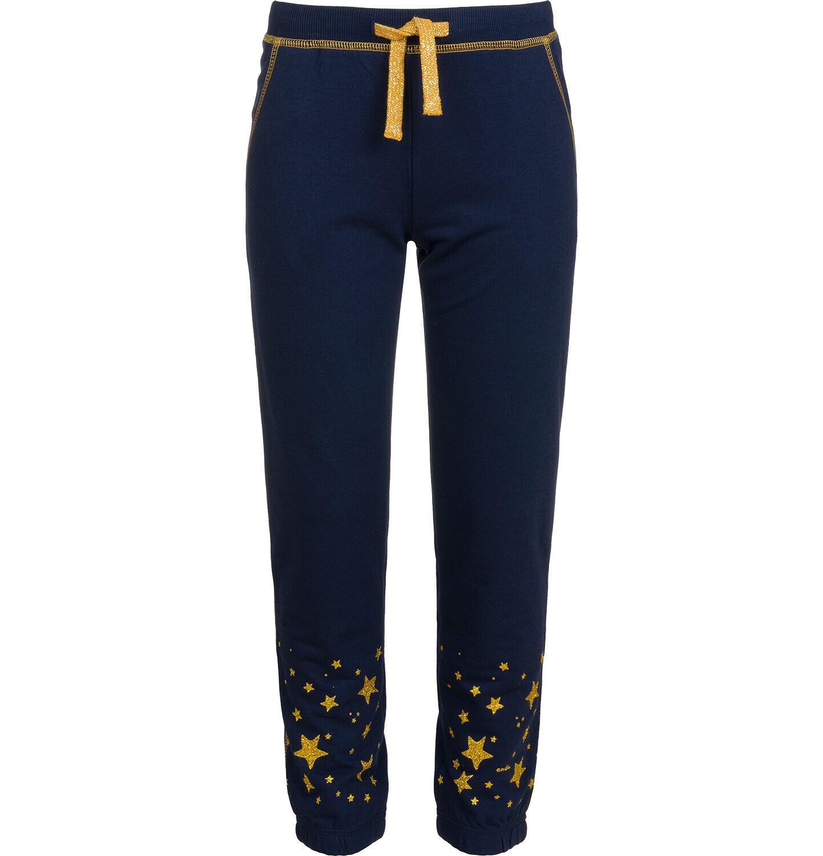 Endo - Spodnie dresowe dla dziewczynki, z gwiadkami, granatowe, 9-13 lat D04K034_1