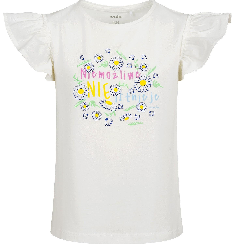 Endo - Bluzka z krótkim rękawem dla dziewczynki, rękawki z falbanką, ze stokrotkami, biała, 9-13 lat D05G198_1