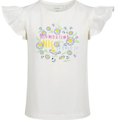 Endo - Bluzka z krótkim rękawem dla dziewczynki, rękawki z falbanką, ze stokrotkami, biała, 9-13 lat D05G198_1,1