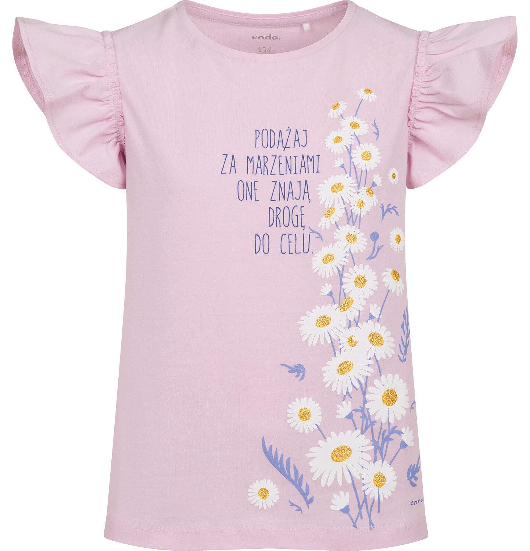 Endo - Bluzka z krótkim rękawem dla dziewczynki, rękawki z falbanką, ze stokrotkami, różowa, 9-13 lat D05G199_1