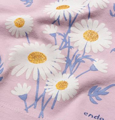 Endo - Bluzka z krótkim rękawem dla dziewczynki, rękawki z falbanką, ze stokrotkami, różowa, 9-13 lat D05G199_1,2