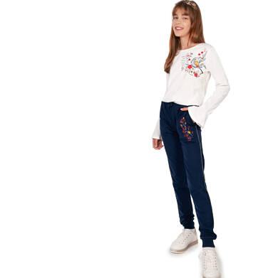 Spodnie dresowe dla dziewczynki, granatowe, 9-13 lat D04K039_1