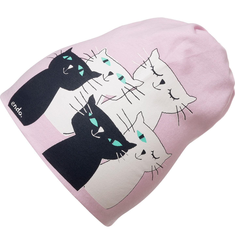 Endo - Czapka wiosenna dla dziecka, z kotami, różowa D05R001_1