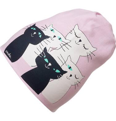 Czapka wiosenna dla dziecka, z kotami, różowa D05R001_1