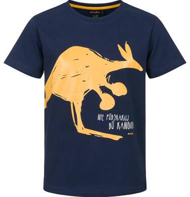 Endo - T-shirt z krótkim rękawem dla chłopca, z kangurem, granatowy, 2-8 lat C03G218_1